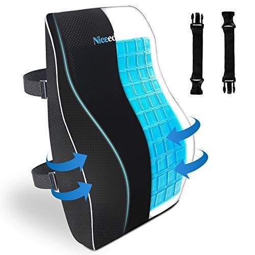 Cooling Gel Lumbar Support Pillow for Office Chair 3D Updated Memory Foam Car Lumbar Pillow for Back Support Cooling Back Pillow for Chairs Back Rest for Wheelchair Gaming Chair