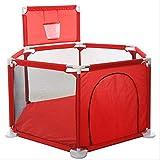 XBSLJ Parques de Juegos Valla de Juegos Corralito para bebés Corralitos para bebés para niños Barandilla para bebés Valla de Tela para Tiro, Rojo
