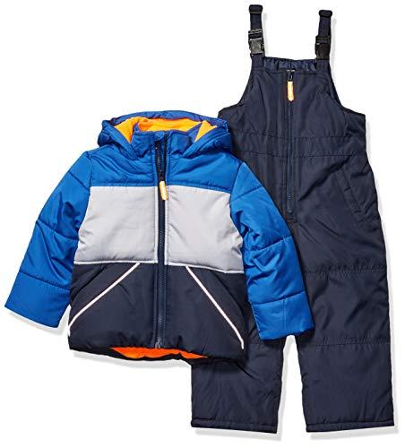 Osh Kosh Boys' Toddler Ski Jacket and Snowbib Snowsuit Set, Wedgewood Blue/Deep Navy, 4T