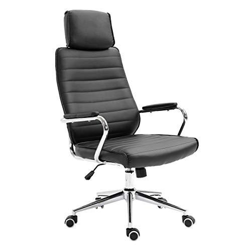 SVITA Bürostuhl mit Kopfstütze Chefsessel Schreibtischstuhl Drehstuhl (Schwarz)