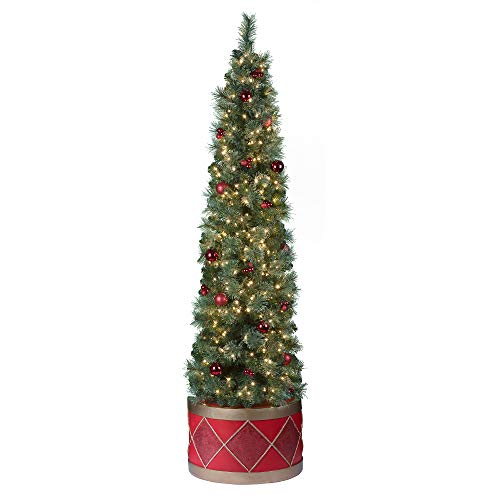 Haute Decor 6.5 Foot Pre-Lit Artificial Fir Christmas Half Tree with Drum Base for Small Spaces, Pre-Decorated with Shatterproof Ornaments, 300 LED Lights and a 12-inch Diameter