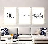 LILHXIU 3 piezas de arte minimalista impresiones mejor juntas pinturas de lienzo para reformar el hogar sin marco