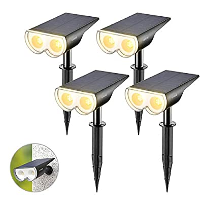 Linkind 4-Pack Dusk-to-Dawn Solar Landscape Spotlights, 16 LEDs 3000k Warm White, IP67 Waterproof Adjustable Solar Powered Wireless Outdoor Spot Lights for Yard Garden Driveway Porch Walkway