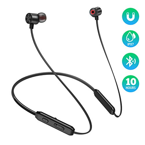 EVIO Bluetooth Headphones, Best Sports Wireless Bluetooth 5.0 Hi-Fi Stereo Deep Bass Earbuds, IPX7 Waterproof & 10 Hrs Playing Time Headsets, CVC 8.0 Neckband Magnetic in-Ear Earphone w/Mic (Black)