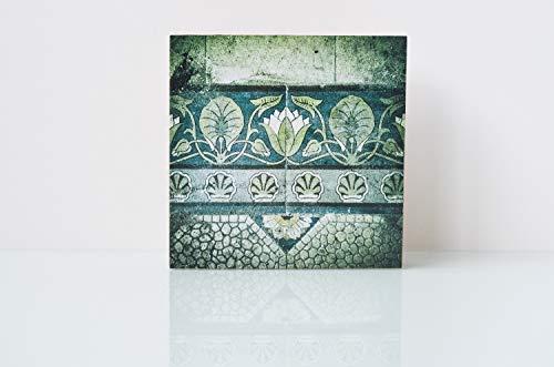 Jugendstil, Fußboden, Fliese, lost place, verlassenes Haus, Villa, marode, Foto auf Holz, im Quadrat, 10 x 10 cm