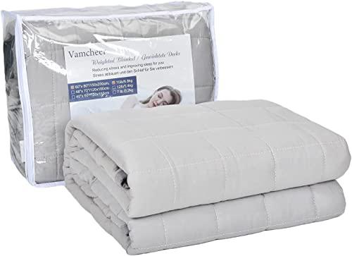 Vamcheer Therapiedecke Gewichtsdecke Entspannungsdecke 6.8kg - 150 x 200cm Angstlösende Therapiedecke Geeignet für Erwachsene und Kinder, Behandlung von Schlaflosigkeit Tiefschlaf,Grau