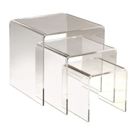 """Acrylic Plexi Clear 3"""" 4"""" 5"""" Square U Nest Risers Lot of 24 Sets 72 Total NEW"""
