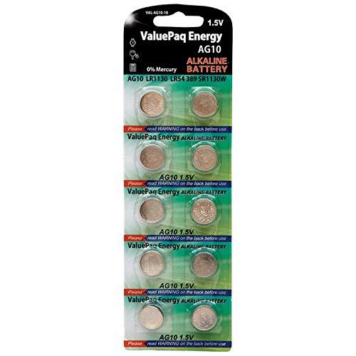 Dantona VAL-AG10-10 ValuePaq Energy AG10 Alkaline Button Cell Batteries, 10 Pack