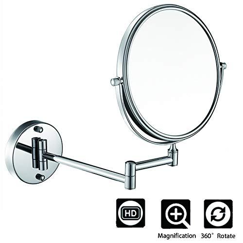 BEIAKE Miroir Maquillage avec Miroir De Vanité en Cuivre Se Pliant Télescopique pour Salle De Bains,6inch,10X