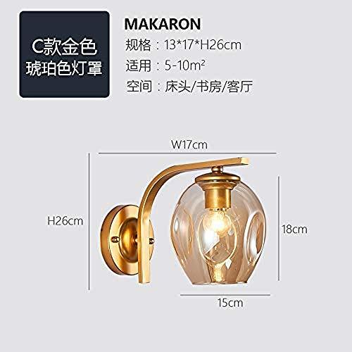 Wandleuchte Wandlampe minimalistische LED Wandlampe Wohnzimmer Nacht Schlafzimmer Flur Lampe Restaurant Dekoration Wandlampe Glas molekulare Wandlampe keine Birne Typ C Gold Bernstein Schale