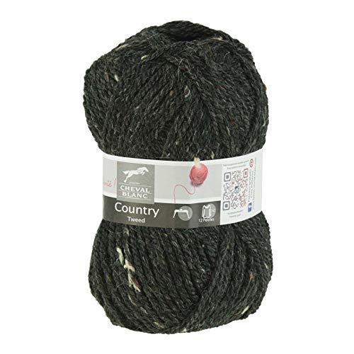 50g Strick-Garn Country Tweed Strickwolle Klassikgarn verschiedene Farben, Farbe:034 schwarz