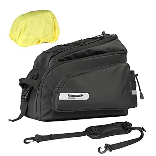Porta-malas de motocicleta, bolsa de bicicleta para bagageiro traseiro de bicicleta 17L resistente à água, bolsa de porta-malas impermeável com capa de chuva e alça de ombro, preta (cor: preto)