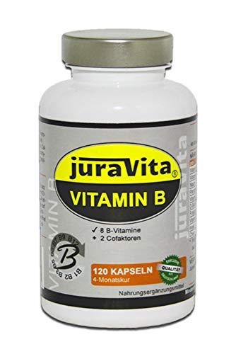 Vitamin B Komplex (19,63€/100g) 120 Kapseln - natürliches D-Biotin, alle B-Vitamine + 2 Cofaktoren - Made in Germany - B1 B2 B3 B5 B6 B7 B9 B12 - Juravita®