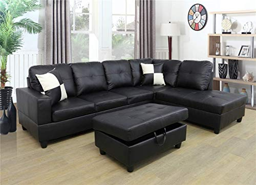 Ainehome Faux Leather 3 Piece Sectional Sofa Couch Set, L-Shaped Modern Sofa with Chaise Storage Ottoman and Pillows for Living Room Furniture, Right Hand Facing Sectional Sofa Set Black