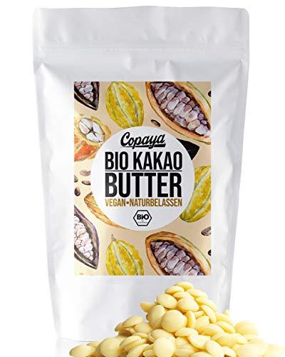 Copaya Bio Roh Kakaobutter, Kakao Butter Chips (Wafers) vom Criollo Kakao aus ungerösteten Edelkakaobohnen vegan in Rohkostqualität (1000g)