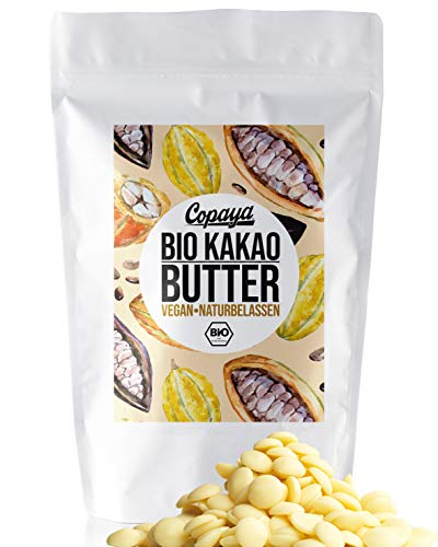 Copaya Bio Roh Kakaobutter, Kakao Butter Chips (Wafers) vom Criollo Kakao aus ungerösteten Edelkakaobohnen vegan in Rohkostqualität (250g)