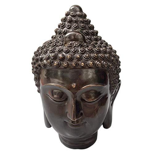 Estatua Impresionante Home Jardín Ornamento Escultura Decoración Meditating Buda Estatua Decoración, Lucky Buddha Head Statue Adornos, Pure Cobre Sakyamuni Tathagata Buda Escultura Estatuas Inicio Déc