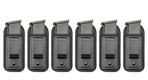 TACwolf 6 Pack IWB Inside Waistband Pistol Handgun Magazine Holster Pouch for Concealed Carry Universal Single Double Stack Mags for Glock17 26 19 Sig Sauer S&W Springfield XD Ruger 9mm/.45