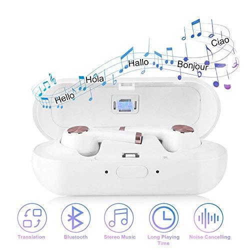 CJWWEI Traductor de Idiomas inalámbrico, Auriculares con Caja de Carga Dispositivo de audífono Bluetooth 2 en 1 Soporte de traducción de Voz 19 Idiomas Traductor