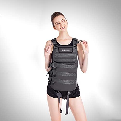 LMZZ Chaleco de natación para adultos, chaqueta de seguridad inflable para mujeres/hombres, para pesca al aire libre, flotabilidad, natación, negro, 4XL