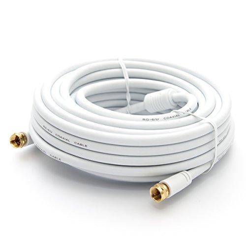 PremiumX 25m Basic-LINE SAT TV Antennenkabel F-Anschlusskabel Koaxial-Kabel mit Mantelstromfilter HDTV 4K - Weiß