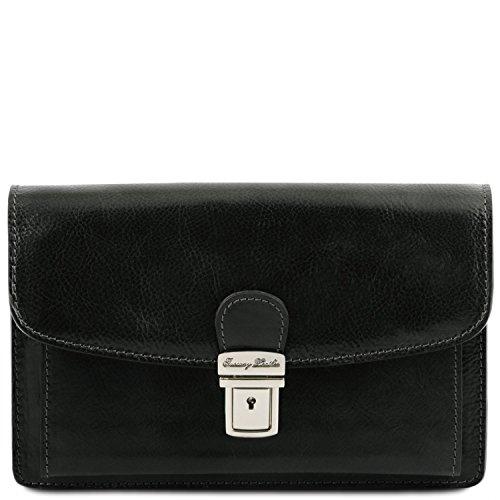 Tuscany Leather Arthur - elegante polstas/herentas van leer - TL1444, zwart (zwart) - TL141444