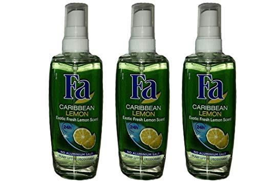 Fa Caribbean Lemon Pump Spray Deodorant,24H schutz 0% Aluminium,75 ml (3er Pack)