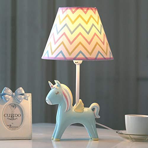 SMC Chambre de dessin animé Licorne LED Lampe de table Chambre Lampe de chevet Creative Boy Girl Lampe de table décorative mignonne (Color : Blue)