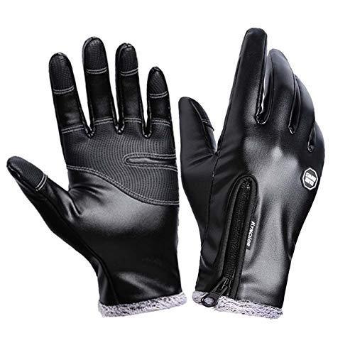 IMmps Wintermode Herren Lederhandschuhe Schwarz Touchscreen Handschuhe Herren Winter Warme Handschuhe Vollfinger-T1402Schwarz-XL