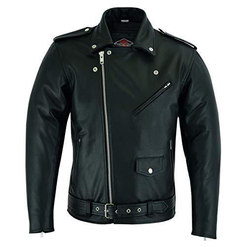 Veste pour Homme - Marlon Brando Style - Style Perfecto - Cuir de Vachette - Noir - L