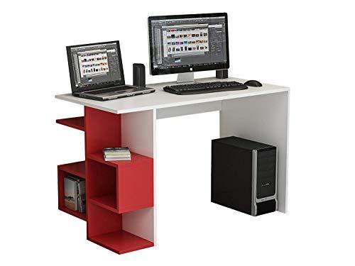 HOMIDEA FIRMUM Scrivania - Scrivania da Ufficio - Scrivania per Computer in Un Design Moderno (Bianco/Rosso)
