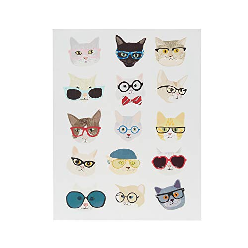 Intelligent Design, Hip Cat Wall Art Wall Art Print Deco Box, Modern Funny Animal Design, Silly Cat Poses with Glasses Painting Living Room Décor, Blue Frame, White Multi, 14 x 18 x 1.5