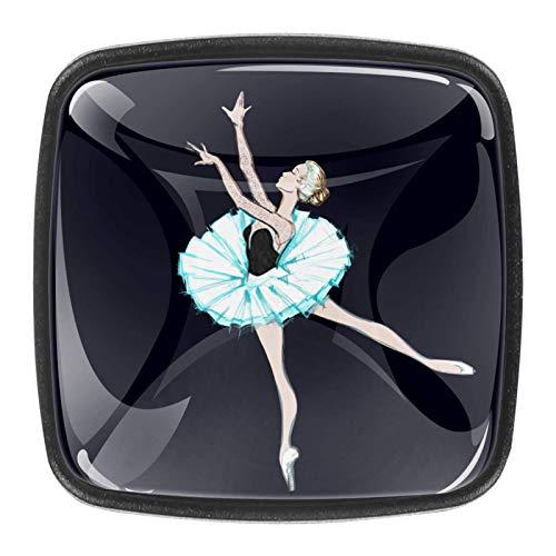 A young ballerina [4 Stuck] Küchenknöpfe - Türknopf Knauf für Schrank, Schubladenknopf, Türknäufe, Möbelknopf