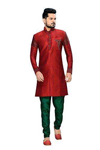 Sherwani de casamento indiano de seda e juta elegante arte vermelha para homens, Vermelho, 52