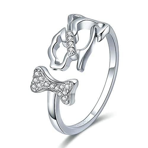 Anillos de plata de ley 925, anillos de dedo de hueso de perro y animales de compañía de perro para mujer, joyería de plata de ley de tamaño ajustable para niña, regalo