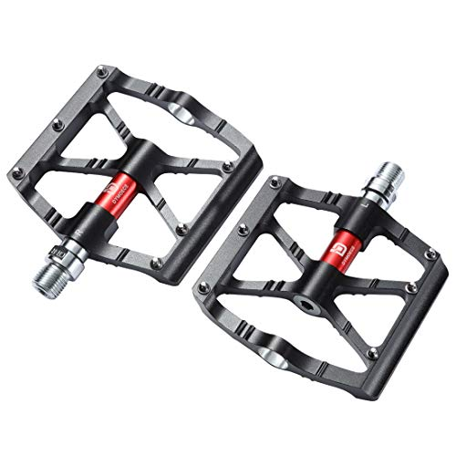 Dymoece Mountain Bike Pedals,Aluminium Alloy Bicycle Pedals Platform,9/16 Non-Slip Wide Bicycle Pedals High-Strength BMX Pedals