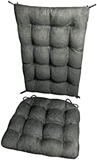 Barnett Home Decor Microsuede Rocking Chair Cushions - Latex Foam Filled Seat Pad and Back Rest Cushion - Microfiber Vegan Suede, Reversible, Machine Washable (Graphite Grey, Extra-Large)
