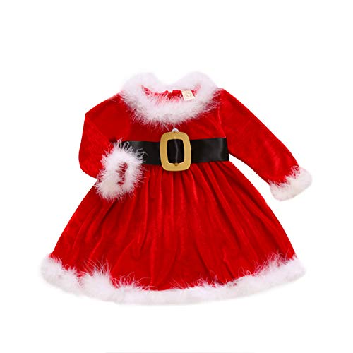 Toddler Baby Girls Christmas Outfit Santa Costume Red Dress with Belt New Year Festive Holiday Xmas Claus Suit Clothes(18-24 Months Old)