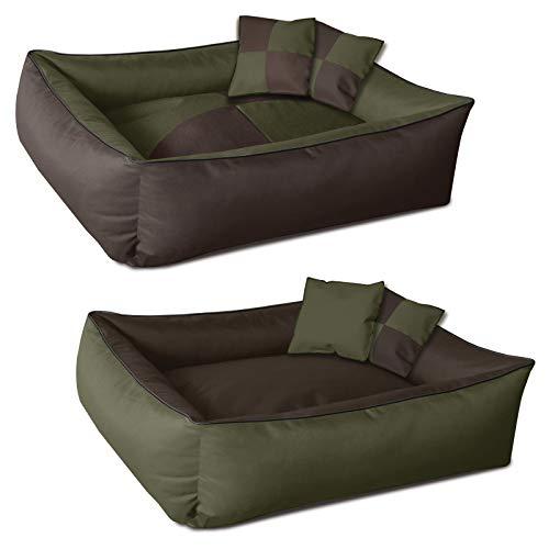 BedDog® 2en1 colchón para Perro MAX Quattro XXXL Aprox. 150x110 cm, 8 Colores, Cama, sofá,Cesta para Perro, Verde/Marron
