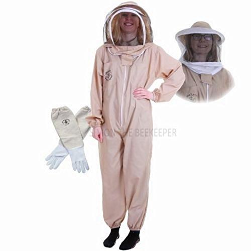 Vêtement classique de protection contre les abeilles avec voile rond d'apiculteur et gants - Kaki