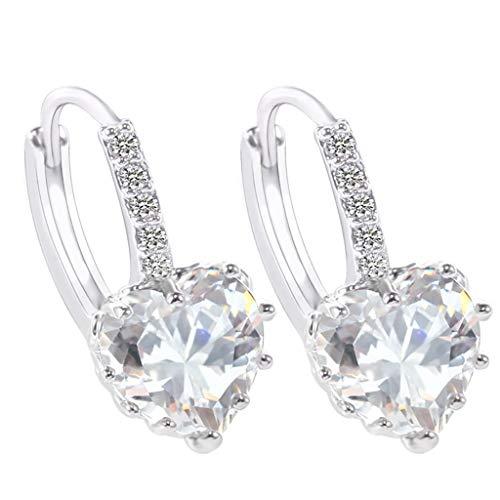 TIFIY Ohrringe 2019 Trend Einfach Ohrringe herzförmigen Zirkon Multi-Color-Mode einfache Ohrringe Retro Süßer Stern Silber Ohrstecker (Weiß)