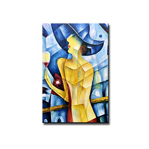 Desihum-Sexy Woman Wall Art 100% Hand Painted Vertical Abstract Oil Paintings on Canvas Blue Yellow Wall Art Ready to Hang for Home Decoration Wall Decor(24'x36')