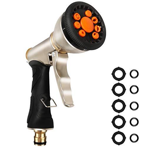 YOOYEE Pistola de Riego 9 Modos de Pulverización Pistola de Agua de Metal Boquilla de Manguera de Jardín de Alta Presión para Lavado de Autos Duchas de Perros Riego de Jardín y Césped