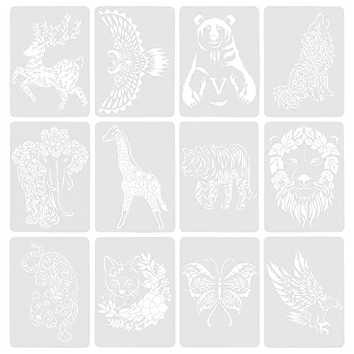 HEALLILY 12 Plantillas de Animales Plantilla de Pintura de Mascotas Reutilizable Molde de Dibujo de Arte DIY Proyecto Decoración para Planificador de Recortes
