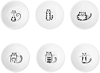 SOCOSY Super Cute Cat Ceramic Sauce Dish/Seasoning Dish/Sushi Soy Dipping Bowl/Appetizer Plates/Serving Dish for Kitchen Home(Set of 6)