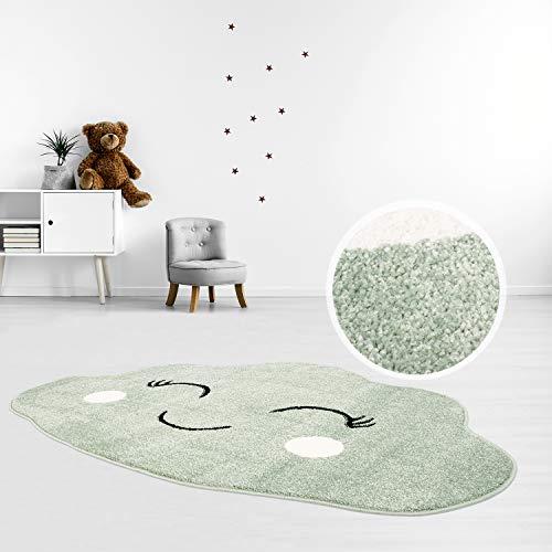 MyShop24 Alfombra infantil de pelo plano, 100 x 150 cm, color verde pastel, con forma de nube feliz para la habitación de los niños, con certificado Öko-Tex Standard 100