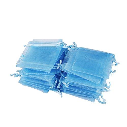 Wolfteeth 100pz Sacchetti Regalo Caramella Organza Borse per bomboniera Nozze Confetti Favore Gioielli –Blu, 7 x 9cm