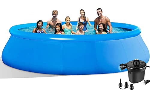EPROSMIN Round Inflatable Swimming Pool - 10Ft X 30 in Quick Set Swimming Pools with Air Pump Above Ground Pool for Adults,Kids,Family,Outdoor,Garden,Backyard,Summer Water Party