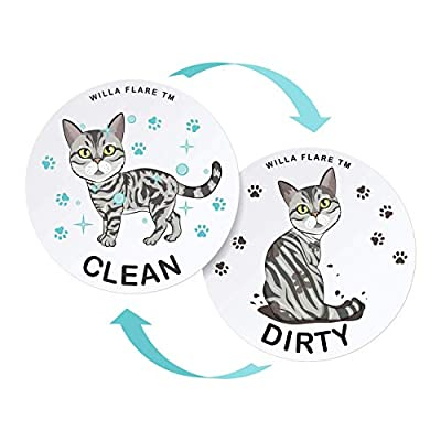 Willa Flare Large Dishwasher Magnet Clean Dirty Sign - Funny Emoji Magnets - Large, Strong, Cool Magnetic Gadgets for Kitchen Organization and Storage - Double Sided (American Shorthair) by Willa Flare
