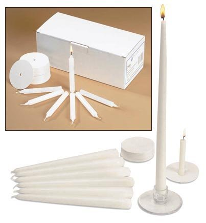 Church Vigil Devotional Unscented 1/2 x 4 1/4 Inch White Candle with Drip Protector - 50 per Box